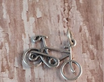 Solid Sterling Silver Bike Charm, 925 Sterling Silver Bicycle, Triathelon, Exercise, Biking Pendant,Jewelry, Necklace Components
