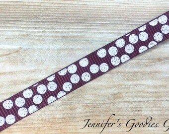 "Glitter Silly Dots on Maroon Ribbon, 3/8"", US Designer Ribbon, Polka Dot Ribbon, Glitter Dots, Ribbon by The Yard, Hair Bow Ribbon"