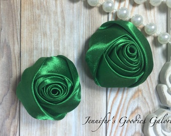 """Set of TWO Emerald 2"""" Satin Rosette Flower Heads, Rolled Roses Wholesale Mini Rosettes for Baby Headbands"""
