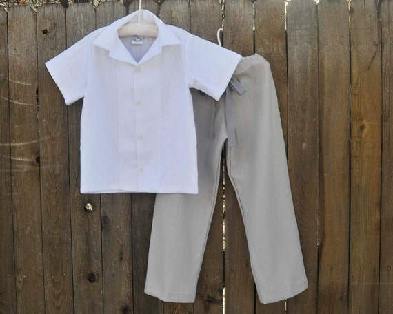 Boys Linen Shirt And Pants Set Grey Linen Ring Bearer