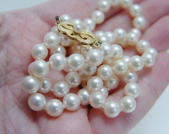 """Vintage Mikimoto 18K Yellow Gold Clasp 6-6.5mm Pearl Necklace 19"""" Long"""