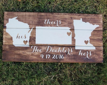 His Hers & Theirs personalized Three States / countries wood sign pallet wood sign, family, wedding gift, yours mine ours, map, custom decor