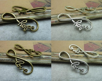 "30pcs 13x38mm  Antique Silver/Ancient bronze  letter ""8""""LOVE""- ""HOPE"" Infinity symbol Connector Link Charm Pendant"