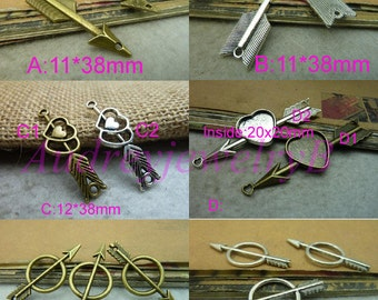 30pcs Antique Silver / Antique Bronze arrow ,Cupid's Arrow ,sword & Love - heart-shaped Arrow Charm Pendant