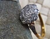 Platinum Ring,18ct Yellow Gold Art Deco 9 Diamond Cluster Set in Platinum & Gold, for Someone Special, Diamonds
