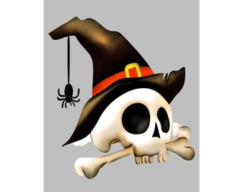 Skull Witch Image, Creepy Halloween Witch Skull Image, Large Witch Skull, Transparent Cutout, Teen Room Décor, Wall, Home Décor
