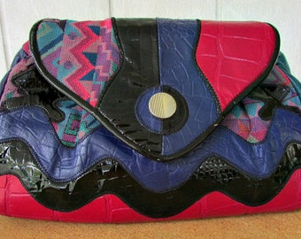 vintage 80s multi croco and fabric shoulder bag purse purple raspberry teal vegan  usa