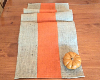 Rustic Fall Decor  Fall Table Runner Natural and Orange Burlap Table Runner Custom Sizes Available Rustic Style Decorating