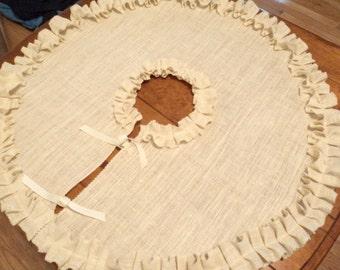 """Ivory Burlap Tree Skirt 60"""" White Christmas Tree Skirt with Ruffles"""