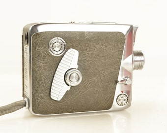 Vintage 1950s Keystone K-42 8mm Movie Film Camera, Beautiful Retro Styling, Brushed Stainless Finish