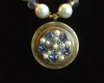 Pearls and Jewels Button Necklace