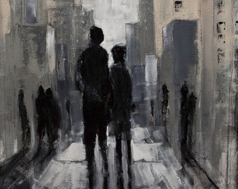 CITYSCAPE 'Lovers Lane' Contemporary Expressionist Semi-Abstract Couple Walking Giclee Print of ORIGINAL PAINTING on Stretched Canvas