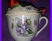 PINCUSHION China Porcelain Teacup Red Roses White Pearls Vintage Lace