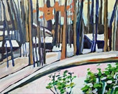 "Snowy Woods Painting on canvas, 11 x 14"" Original Art, Winter Landscape"