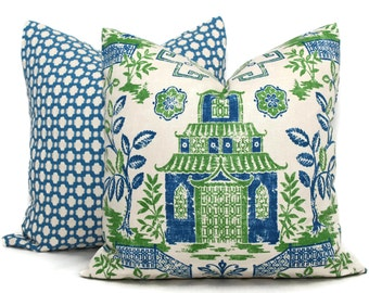 Blue and Green Teahouse Pagoda Decorative Pillow Covers, Toss Pillow, Accent Pillow, Throw Pillow, Pillow sham, Chinoiserie Pillow