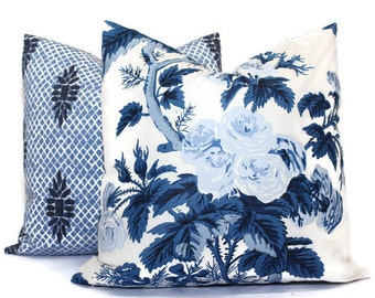 Schumacher Indigo Blue Pyne Hollyhock Cover 18x18, 20x20, 22x22, 24x24, Eurosham or lumbar pillow, throw pillow, accent pillow, Gray floral