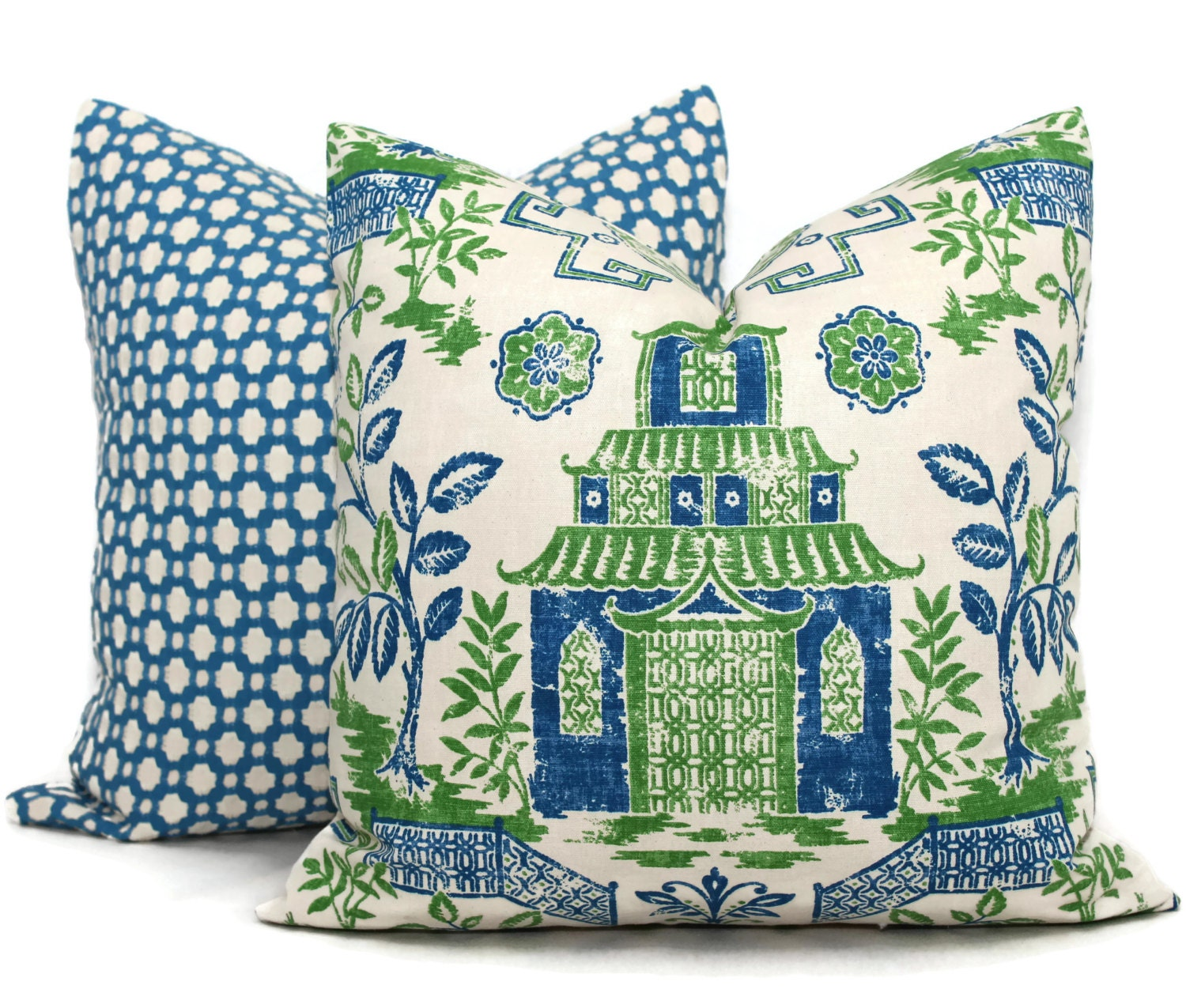 Decorative Pillows Blue Green : Blue and Green Teahouse Pagoda Decorative Pillow Covers Toss