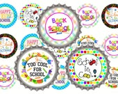 "1"" Back To School Fall Bottle Cap Image Sheets  - First Day Of School - Cupcake Topper Stickers Printables Instant Download."