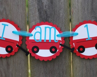Red Wagon High Chair Birthday Party Banner/ Red Wagon Birthday Party/ Red Wagon
