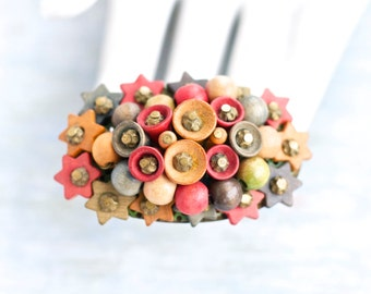 Colorful Wood Brooch - Stars Bells and Berries Lepl Pin