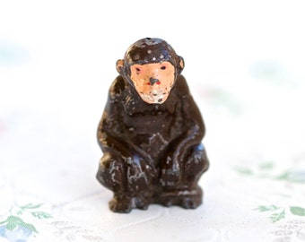 Lead Monkey - Antique Iron Cast Wild Animal Toy Figurine - Made in England