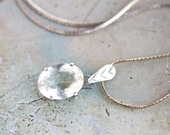 Crystal Clear Necklace - Glass Oval Pendant on Sterling Silver Chain Necklace - Vintage Jewelry