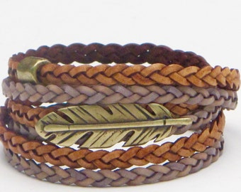 Leather Braid Wrap Bracelet, Whirly Wrap, Natural Leather Braid, Purple Braided Leather, brass feather, secure magnet, easy on