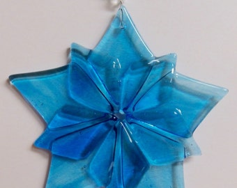 Star Burst 10 Points Blue Green Fused Glass Ornament