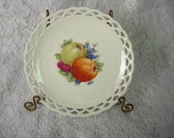 CICO Bavaria Decorative Fruit Plate Apples Cherries Blueberries Pierced Edge