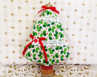 "Christmas Tree Ornament Fabric Tree  5"" Free Standing Holly Berry Print Tree Ornament CIJ Christmas in July Home Decor CharlotteStyle"