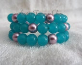 Bright Blue and Pearl Wrap Bracelet