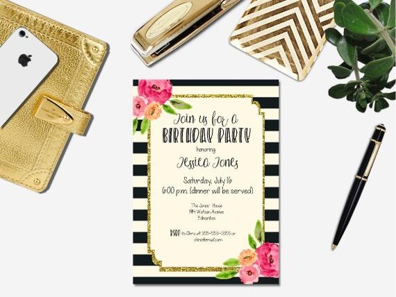 Printable Female Birthday Invitation Watercolor Flower