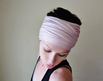 TEA ROSE Head Scarf - Dusty Pink Hair wrap - Extra Wide Jersey Headband - Womens Bohemian Hair Accessories - Boho Hair Head Scarf