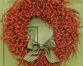 Fall Door Decor - Autumn Door Wreath - Berry Wreath