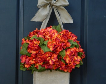 Summer thru Fall Wreath - Hydrangea Wreath - Wreath Alternative -  Door Decor