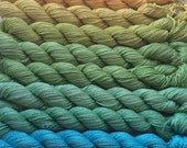 Gradient yarn set - pure silk, handdyed yarn 200g- hand painted dyed, gradient shawl ombre -from mango to sea breeze