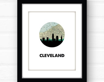 Cleveland art print | Cleveland skyline art | Cleveland Ohio art print | Cleveland print | Cleveland poster | vintage map art | travel print
