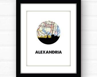 Alexandria VA wall art | Alexandria Virginia map art | Virginia city skyline print | Virginia coastal decor | travel print | Virginia wall