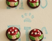 Hand made buttons, set of 4. 20mm diameter. Mushroom, Toadstool design. Polymer Clay