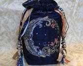 Tarot Pouch, Crescent Moon,Midnight Blue, Navy Blue, Water Moon, Tribal Moon, Divination Tools, Water Element, Silk Lined, Handmade,gift bag