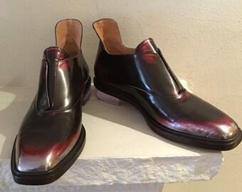 Burgandy Tone Leather Bootie Shoe by Maison Martin Margiela Paris with Lucite Heel