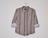Vintage Unisex Western Boho Folk Khaki Button Up Shirt Small Medium S - M