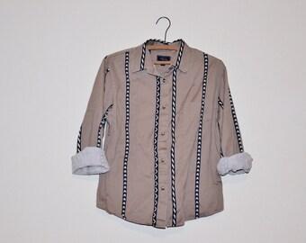 Vintage Unisex Western Boho Folk Khaki Button Up Shirt Small Medium S - M