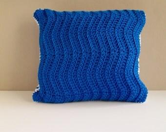 """12"""" Crochet Pillow - Blue"""