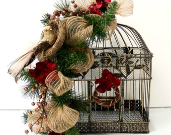 SALE Christmas Decorations  Christmas Birdcage Decor  Christmas Mantel / Rustic Christmas Birdcage / Christmas Centerpiece / Christmas Gifts