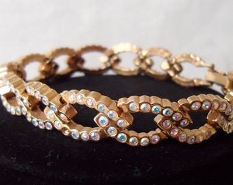 "AB rhinestone bracelet, 7""ins long, fold over clasp, pretty sparkle, tiny facet cut AB stones, has dainty look. STEVE12.3-17.1"