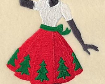 Christmas Fashionista with Mistletoe Embroidered Flour Sack Hand/Dish Towel