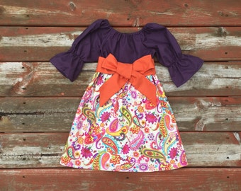 Girls Fall Dress Plum Paisley Peasant Dress with Sash 6 12 18 24 2T 3T 4T 5/6 7/8 9/10 11/12 Sibling Sister Dresses Fall Family Outfits