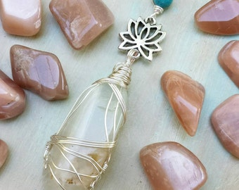 Moonstone Wirewrapped Necklace, Lotus, Turquoise, *MADE-TO-ORDER*