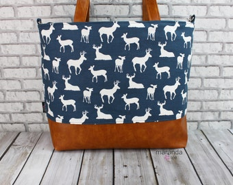 Extra Large Lulu Tote Overnight Diaper Bag- Navy Deer and PU Leather -  Dance Travel School Bag